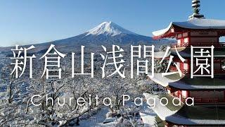 絶景 空撮 新倉山浅間公園 雪化粧した忠霊塔と富士山 - Mount Fuji, Chureito Pagoda in Winter