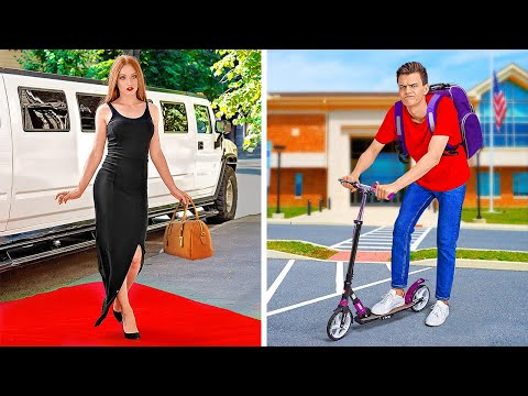 RICH STUDENTS VS BROKE STUDENTS || Funny Situations At School by 123 GO!