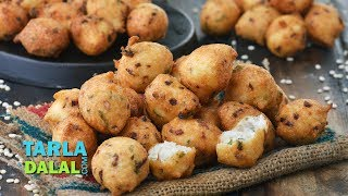 Urad Dal and Onion Pakodas , quick and easy starter recipeRecipe Link : https://www.tarladalal.com/Urad-Dal-and-Onion-Pakodas-41897rSubscribe : http://goo.gl/omhUioTarla Dalal App: http://www.tarladalal.com/free-recipe-app.aspxFacebook: http://www.facebook.com/pages/TarlaDalal/207464147348YouTube Channel: http://www.youtube.com/user/TarlaDalalsKitchen/featuredPinterest: http://www.pinterest.com/tarladalal/Google Plus:  https://plus.google.com/107883620848727803776Twitter: https://twitter.com/Tarla_DalalUrad Dal and Onion Pakodas Urad batter is generally associated with the South Indian vada, but here we have made pakodas with urad dal and it tastes absolutely awesome. Onions impart a delectable crunch to the pakodas while a gamut of common but interesting additions like ginger, green chillies, coriander and spices give the fritters a mouth-watering flavour. We have added a little bit of rice flour to the batter to give the Urad Dal and Onion Pakodas shape and crispness, so don't omit it. Enjoy the snack hot and crisp with green chutney and ketchup. Try other pakoda recipes like https://www.tarladalal.com/Moong-Dal-Pakoda-(-Mumbai-Roadside-Recipes)-33399r or https://www.tarladalal.com/Peanut-Pakoda-Shingdana-Bhajiya-789r.  Preparation Time: 10 minutes.Cooking Time: 20 minutes.Serves 4. Soaking Time: 2 hours. 1 cup urad dal (split black lentils)½ cup finely chopped onions 1 tbsp finely chopped green chillies 1 tbsp finely chopped coriander (dhania) 1 tsp finely chopped ginger (adrak) ¼ tsp coarsely crushed black peppercorns (kalimirch) Salt to taste 2 tbsp rice flour (chawal ka atta) Oil ofr deep-fryingFor servingGreen chutney Tomato ketchup1. Clean, wash and soak the urad dal in enough water in a deep bowl for 2 hours. Drain well.2. Combine the urad dal and ¾ cup of water in a mixer and blend till smooth. 3. Transfer the mixture into a deep bowl, add all the remaining ingredients and mix well.4. Heat the oil in a deep non-stick pan, drop spoonful of the mixture using