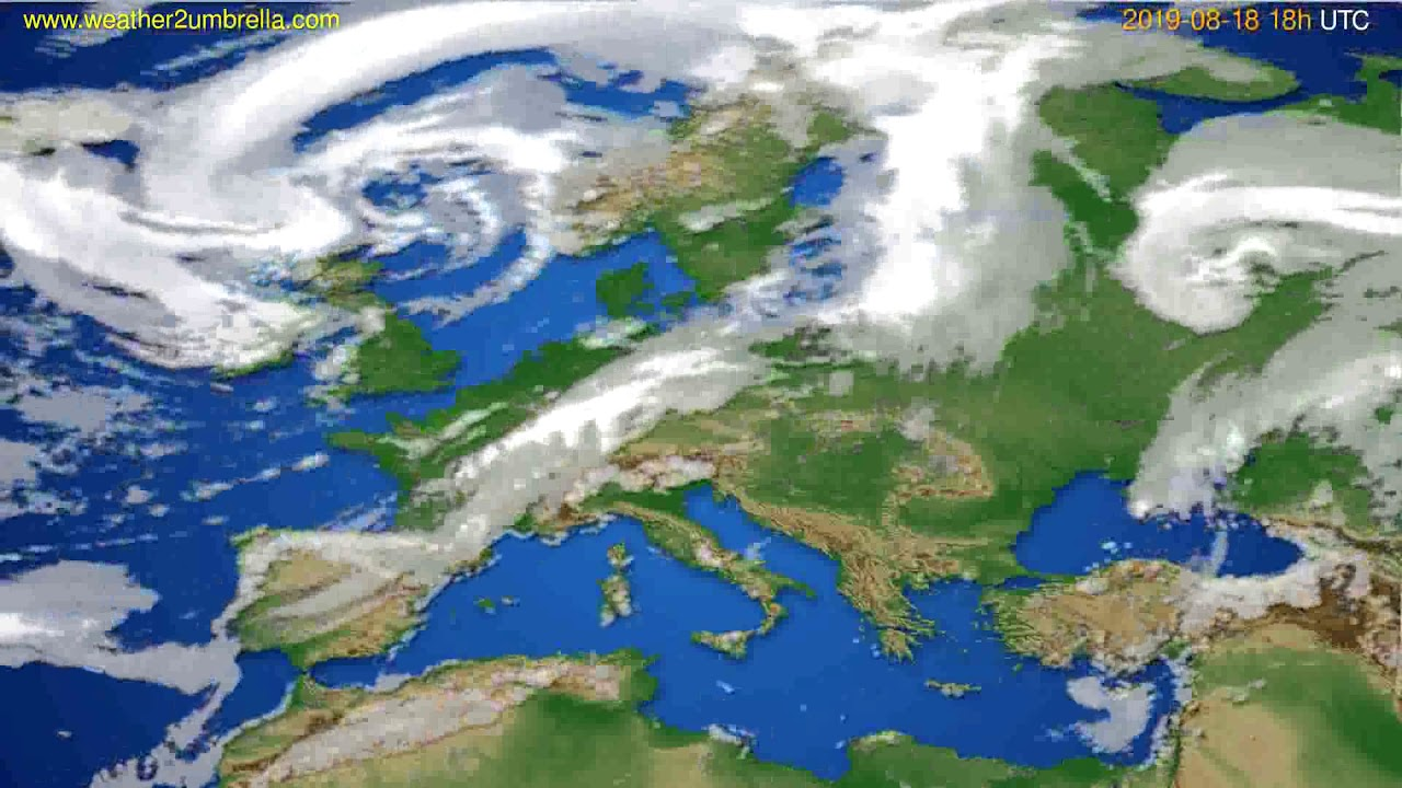 Cloud forecast Europe // modelrun: 12h UTC 2019-08-16
