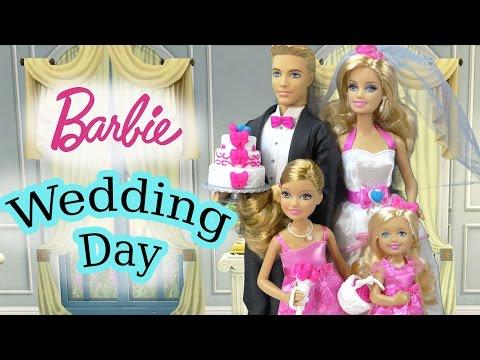 Barbie Dolls Wedding Day Bridal Party Groom Ken Playset Flower Girl Bride Bridesmaid Playdoh Cake