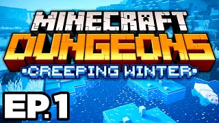 •️ FROSTED FJORD & NEW VILLAGERS! - Minecraft Dungeons Creeping Winter DLC Ep.1 (Gameplay Lets Play)
