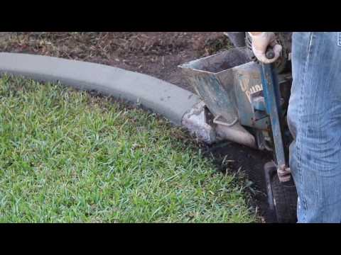 Installation of Cement Landscape Edging/Curbing - Awesome Machine! (видео)