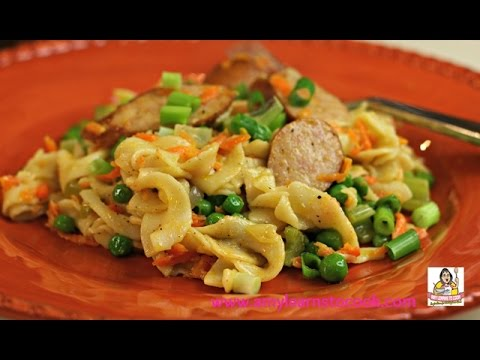 Amy's Hot Buttered Egg Noodles With Sausage & Peas