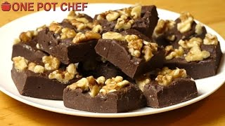 """My Best Ever Chocolate Fudge recipe takes only 5 minutes to make, then just pop it into the fridge to chill! Dark Chocolate Chips are combined with Vanilla,  Condensed Milk and Mini Marshmallows. Topped with nuts and cut into squares, this no-fuss comfort food is a guaranteed winner - give this one a try today!Ingredients:3 Cups of Dark Chocolate Chips (approx. 520g)400g Can of Sweetened Condensed Milk1 Teaspoon of Vanilla Extract1/2 Cup of White Mini Marshmallows1 Cup of Chopped Walnuts (optional)Preparation Time: About 5 minutesChilling Time: About 2 hoursMAKES 20-30 SQUARESSubscribe to One Pot Chef (it's free!):http://bit.ly/SubOPCONE POT CHEF COOKBOOKS - PAPERBACKS AND EBOOKS:http://www.lulu.com/spotlight/onepotchefONE POT CHEF COOKBOOKS ON iTUNES BOOKSTORE:http://itunes.apple.com/au/artist/dav...ONE POT CHEF APRONS + T-SHIRTS NOW AVAILABLE!http://shop.studio71us.com/collection...Filmed in 4K using the Sony FDRAX100 Video Camera - Check it out here:https://goo.gl/iHLnHPFollow me on Social Media:Twitter:http://www.twitter.com/onepotchefFacebook:http://www.facebook.com/onepotchefInstagram: http://www.instagram.com/onepotchefshowMusic Credits:""""Bright Wish""""by Kevin MacLeodhttp://incompetech.comRoyalty Free Music - Used with Permission under Creative Commons license."""
