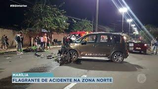 Câmera flagra acidente na zona norte de Marília