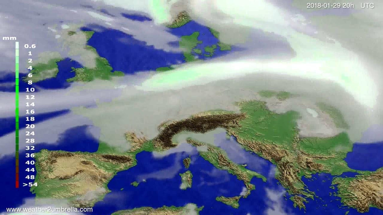 Precipitation forecast Europe 2018-01-27