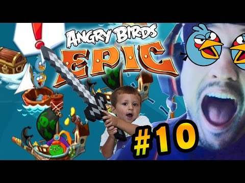 Lets Play Angry Birds EPIC Part 10: Chase & Dad Fight for the Blues Key! (iOS Face Cam Commentary)