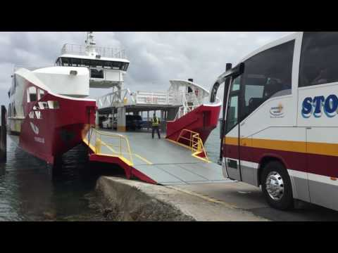 Extreme Ferry Boarding. Bus Onto Ferry