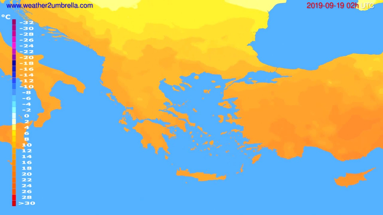 Temperature forecast Greece // modelrun: 00h UTC 2019-09-16