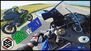 5. NEW vs OLD! - YAMAHA R6 SHOOTOUT [2017 vs 2012]