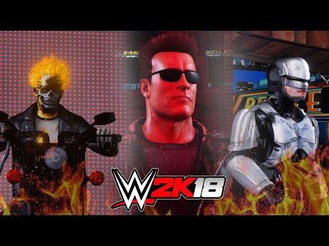 WWE 2K18 Movie Stars Match - Ghost Rider V The Terminator V Robocop - Full Match!