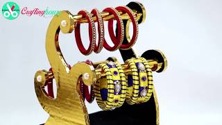 How to make a luxury bangle stand and jewelry box with cardboard. DIY jewellery desk organiser with waste cardboard for handmade gift. Best out of waste mate...