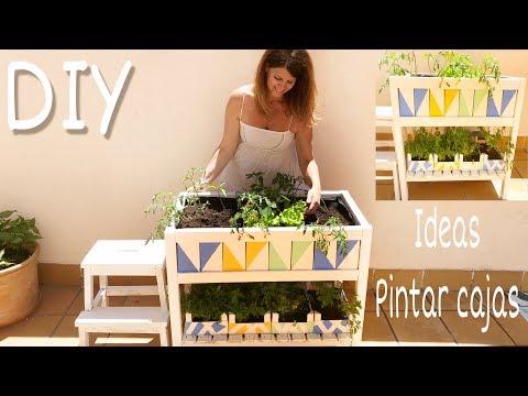 DIY Cómo pintar fácil cajas de fresas y cómo hacer un huerto urbano / Reciclar y decorar