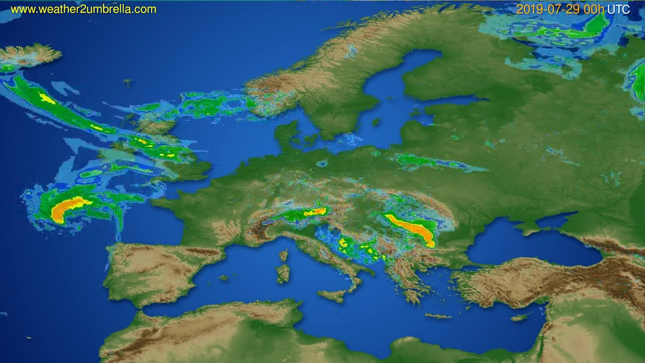 Radar forecast Europe // modelrun: 12h UTC 2019-07-28