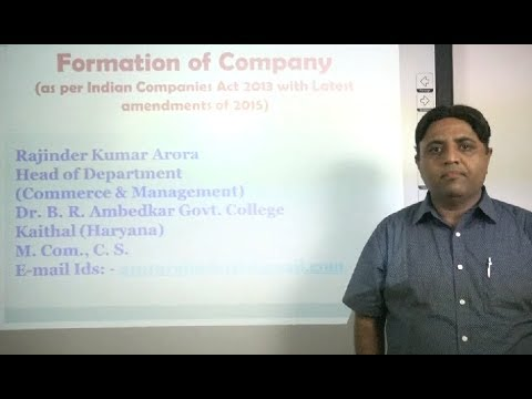 Formation of Company in Hindi as per Indian Companies Act 2013 (Lecture 1 of 8)