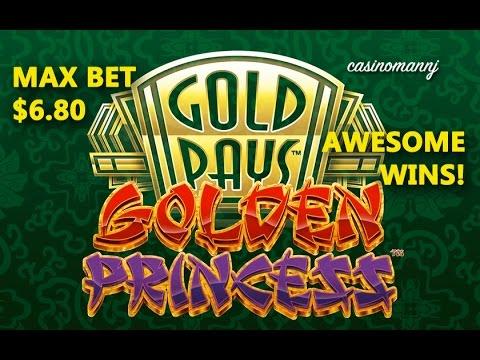 *AWESOME WINS* - Golden Princess Slot - MAX BET! $6.80 Bonus and Progressives - Slot Machine Bonus