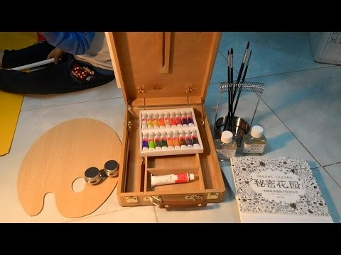 Unboxing Paintings Tool Set Box Canvas Frame Painting oil Paint Brush
