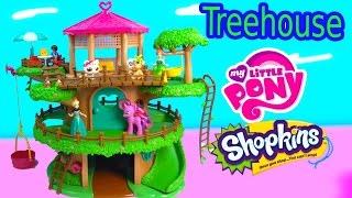 0657 Lil Woodzeez Family Treehouse Playset My Little Pony Frozen Littlest Pet Shop Hangout Toy Unboxing