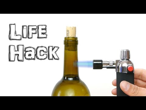 Open Wine Bottle with a Blow Torch
