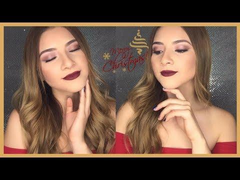 Uñas acrilicas - Maquillaje dorado para navidad Naked 3 Dulce FloresB