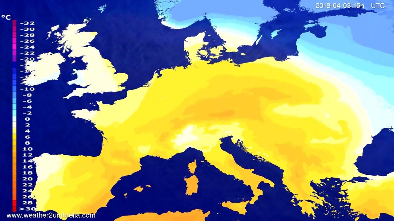 Temperature forecast Europe 2018-03-31