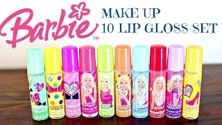 Hi theer Barbie and Make Up fan!Today I am showing you this super cool make up from Barbie! This is the 10 pack roll on lip gloss for young girls!These all are in different colours and have different scents and flavours.
