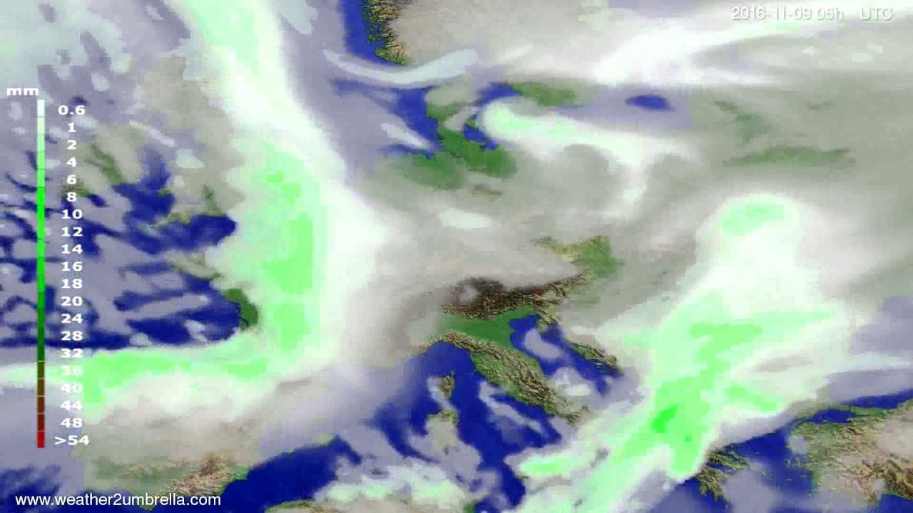 Precipitation forecast Europe 2016-11-06