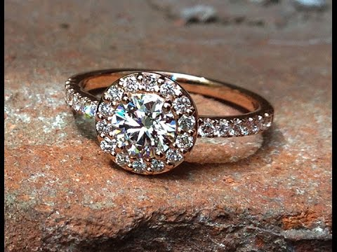 GIA Certified 0.89 carat solitaire halo pave diamond ring set in 18K Rose Gold