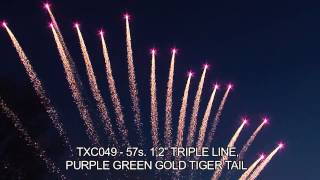 Evantai Triple Line 57 S Purple Green Gold Tiger Tail
