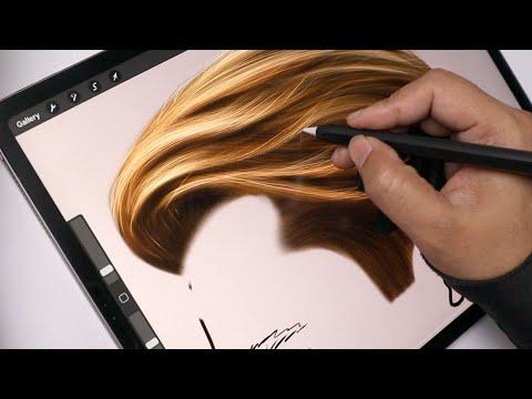 How to Draw Realistic Hair Digitally   Procreate Tutorial
