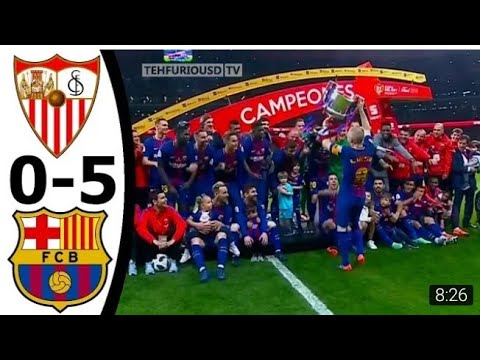Sevilla Vs Fc Barcelona 0-5 Full Trophy Celebrations W/ English Commentary Cdr Final 2017-18 Hd 720p