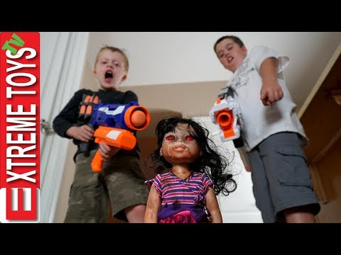 Haunted Doll Attacks! Ethan and Cole Blast a Possessed Baby Toy with Nerf Guns