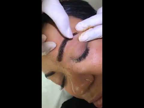 "Microblading ""Blade and Shade"" demo on Amber by Tina Davies"