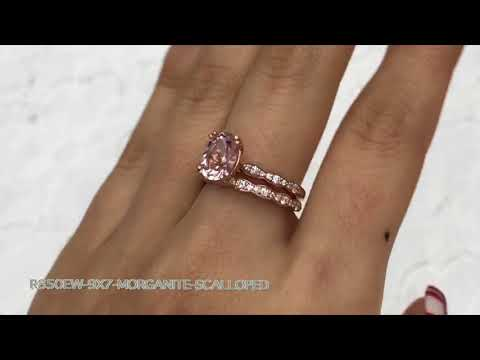 Solitaire Morganite Ring Scalloped Diamond Band Bridal Set