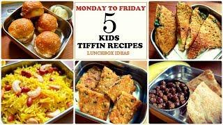 5 Tiffin Recipes for kids | Lunch Box Ideas | Poha cutlets | Mini burgers |Moong dal | Lemon Ricece