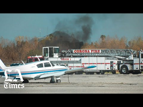 Four killed in fiery plane crash at Corona airport