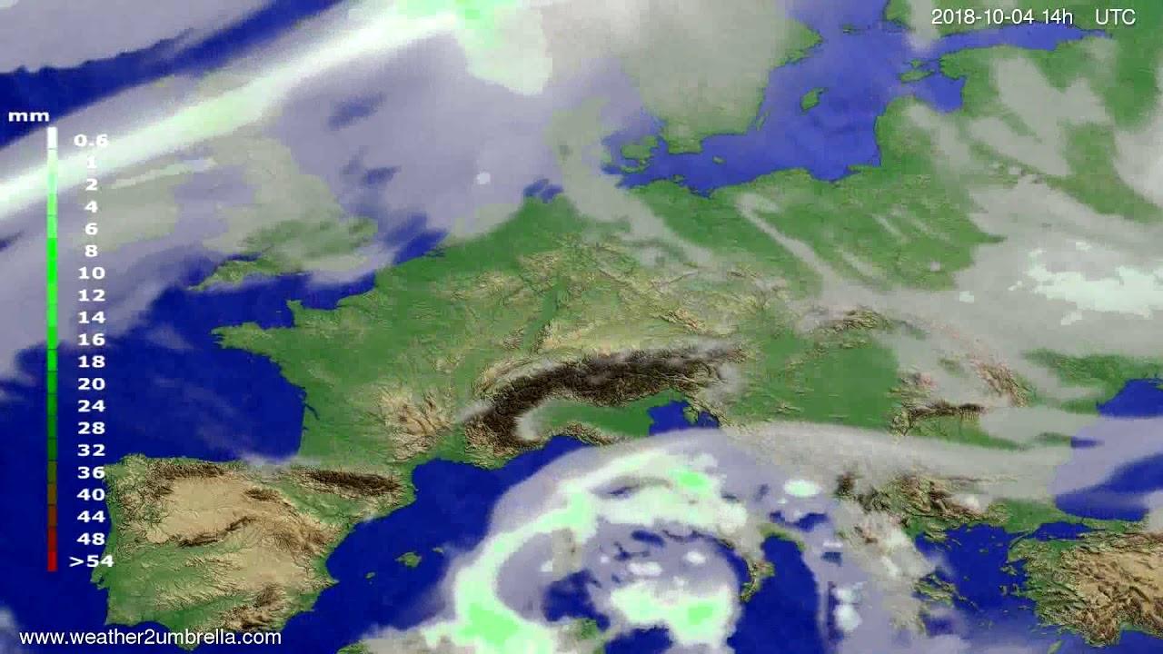 Precipitation forecast Europe 2018-09-30