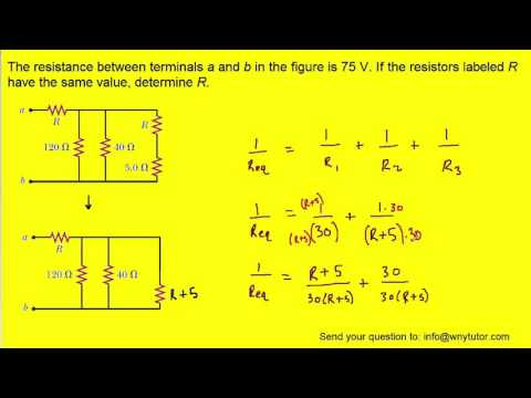 The resistance between terminals a and b in the figure is 75 Ω. If the resistors labeled R have the