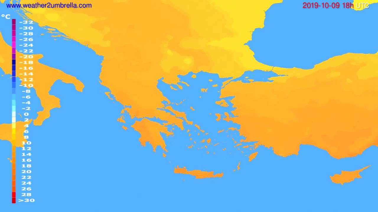 Temperature forecast Greece // modelrun: 12h UTC 2019-10-06