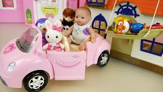 baby doll pink car and house pororo toys play