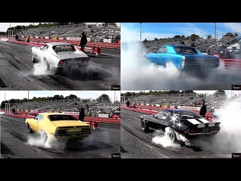 muscle cars burnout compilation: c3, camaro, ford torino, chevelle ss..