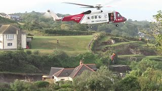 A couple in their 70s were airlifted to safety after torrential downpours caused flash flooding in the coastal village of Coverack in Cornwall. Report by Nikhita Chulani.