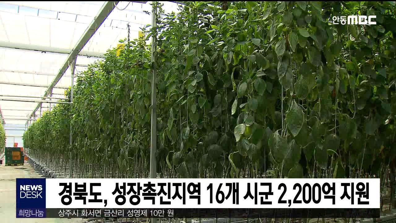 경북도, 성장촉진지역 16개 시군 2,200억 지원