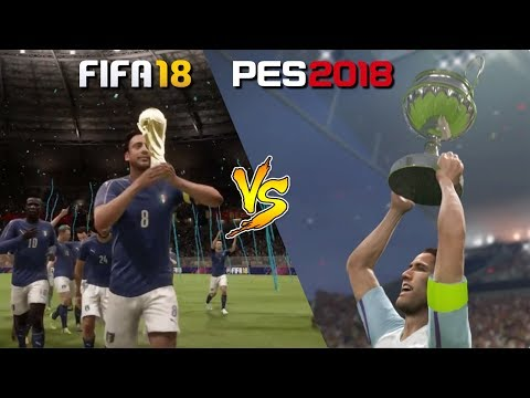FIFA 18 Vs. PES 2018 | World Cup Final Celebration Gameplay Comparison