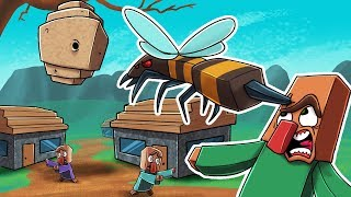 Crazy Minecraft - I FOUND A GIANT BEES NEST! (GIANT BEES ARE OVERPOWERED)