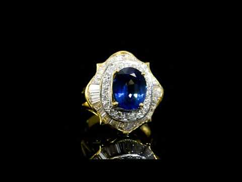Lady's 18k Yellow Gold 5ct Sapphire and Diamond Ring
