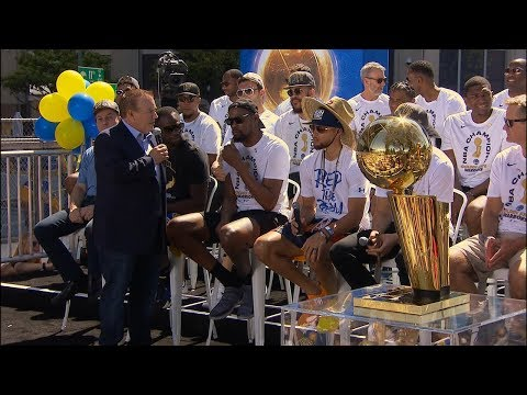 Steph Curry, Kevin Durant and Draymond Green speak before Warriors' championship parade (видео)