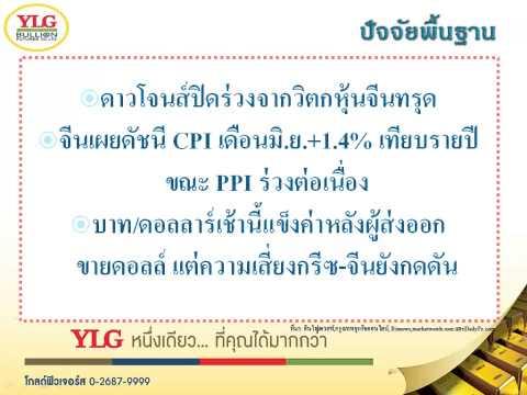 YLG บทวิเคราะห์ราคาทองคำประจำวัน 09-07-15