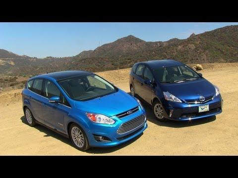 2013 Ford C-MAX vs Toyota Prius V Hybrid Mashup Review